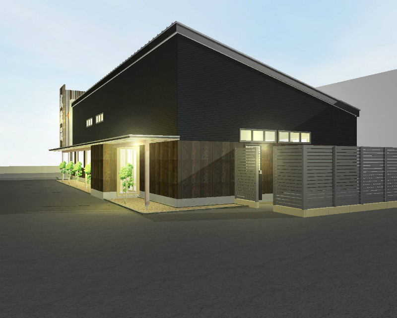 バックヤード。 木造平屋建て。勾配屋根で高さを出します。