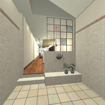 商業地域のアーケードの一画に建てるカフェです。 間口3m、奥行き28mの敷地です。