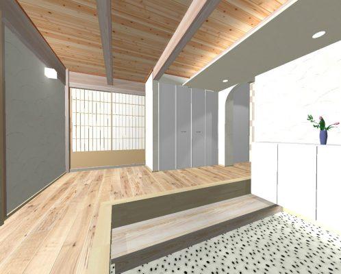 なるべくコストを掛けずに、生かせるものは生かします。 玄関は収納を増やし現代風に。