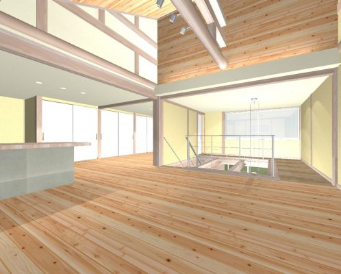 2階は天井が低めなので小屋裏を利用。屋根断熱とします。 間仕切りを設けて個室にもできます。