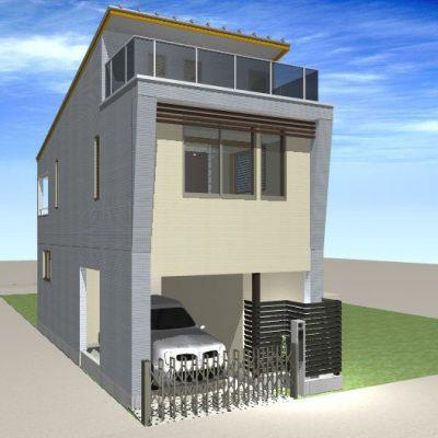 木造住宅の2階建ての全面リフォーム。 耐震補強の他、内外装を一新しました。 1階は門型フレームで補強してガレージに。 厳しい条件下での計画です。