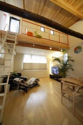 はしごで3帖ほどの屋上に出られます。 上り下りが楽なようにキャットウォークを設けました。 窓拭きの際も楽々です。