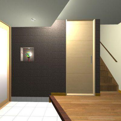 階高も低く、狭い玄関ですが、間接照明や建具の高さを天井にそろえるなどの工夫で、すっきりと納め、狭さを感じさせません。