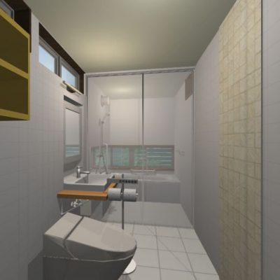 浴室、洗面、トイレを1階に配置し1室にまとめて狭さを克服。 床暖房の設置、浴室の南の窓からは坪庭が眺められます。