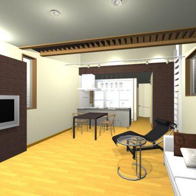 2階に出きる限り広くとったLDK。 一部の天井を屋根なりに勾配にして、間接照明を設け、更なる広がりをだします。