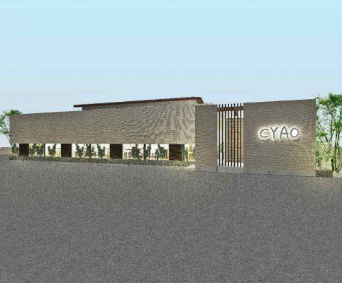 和のテイストのあるパスタレストランの提案。 提案で終わってしまいました。(H23年11月) 大きな塗壁をアクセントにします。
