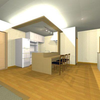 2階は住居。オープンなダイニングキッチン
