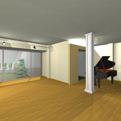 スタジオ。ピアノのコンサートもできるスペース