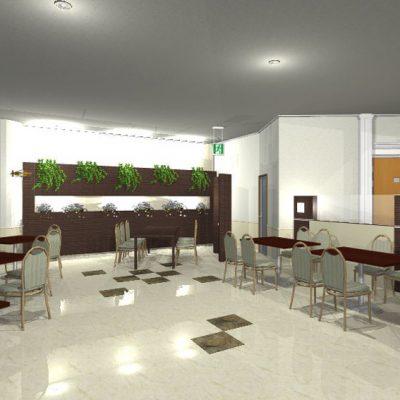 殺風景だった、レストラン客席の壁面の提案。 間接照明とグリーンを入れてシックに、ナチュラルに。 家具は既設のままですが、床はPタイルから鏡面のタイルに貼り替えます。