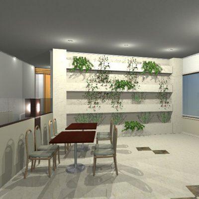 客席奥の壁には、元々壁画が描かれていましたが、もっと華やかにしたいとのことで、タイルでグリーンの棚を造る提案です。