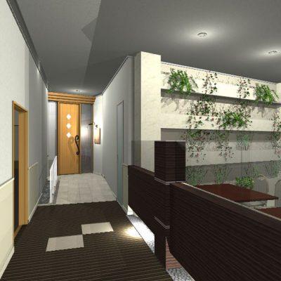 通路から鉄板焼コーナーへの入口の提案。 向こう側の天井まである建具とスロープに手摺。 案内看板は錆鉄板風のパネルで