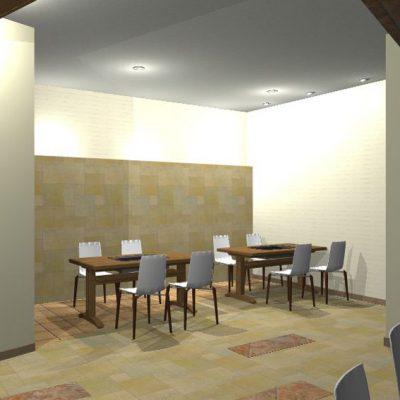 鉄板焼コーナーの提案。 奥の壁をふかし、ニュアンスのあるタイルを貼ります。 間接照明で奥行きを出します。