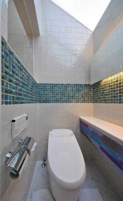 元々は浴室だったところをトイレにしました。タイルは試作品で、焼きあがるのを 1か月お待ちいただきました。
