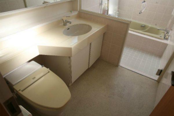 既設の洗面とトイレ。奥が浴室でした。
