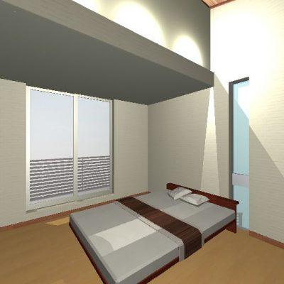 2階の主寝室。 間接照明でベッドからまぶしくない光。