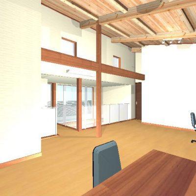 2階の子供部屋。将来家具屋建具で仕切れるように、あらかじめ鴨居が付いています。 あらわしのJパネルでも後工事は簡単にできます。