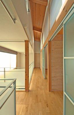 2階の通路は吹き抜けにつながっていて 戸を引けば元のように空間がつながります。
