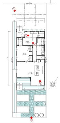 平面図です。 平屋の20坪程度のプランです。夫婦の終の棲家を想定。南側はキッチンガーデンになっています。