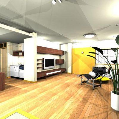 2階の二部屋の洋間をリビングに改装。 壁面に間接照明を施し、50インチのTVを壁に。