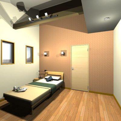 寝室3 ロフトのあった部分は収納として塞ぎ、天井高はそのままに。