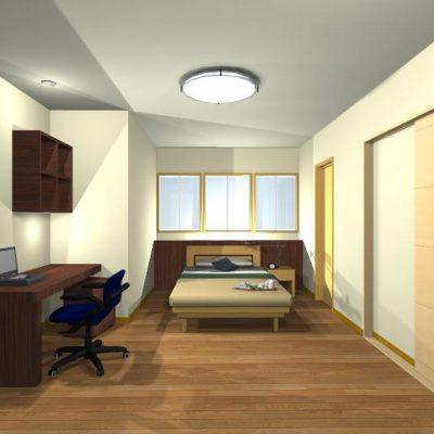 寝室と書斎。 ベッドボードに間接照明を組み込み柔らかな光。