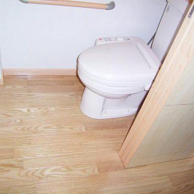 1階の既設トイレは建具を変えてバリアフリーにしました。