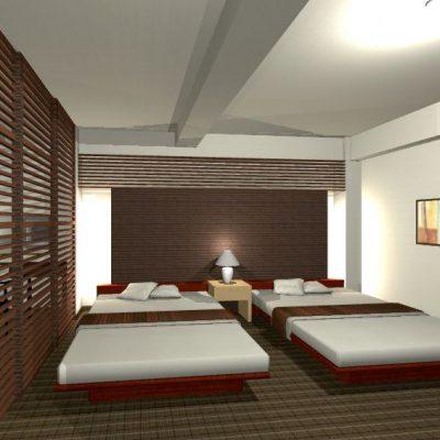 ベッドルーム。 奥の壁をふかして、やわらかい間接照明を縦に入れます。 上部のルーバーはエアコンの目隠しを兼ねています。