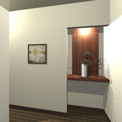ホテルのスイートルームのエントランスの提案。飾棚を設けてお客様を迎えます。 元は狭くて殺風景でした。