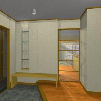 玄関には隣接して物入れ、コート賭けなどを設置。 ベンチと飾棚。