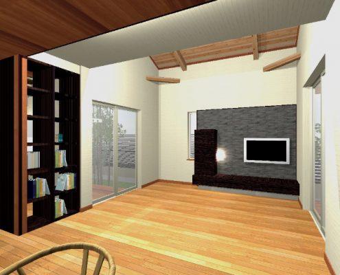 リビングルーム。下屋いっぱいの高い天井で広々と。 天井は構造材のJパネルあらわし。TVボードと収納を造作します。 間接照明を施し、エコカラットでひきたてます。